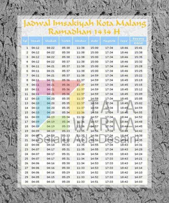 Jadwal Imsakiyah Kota Malang 2013